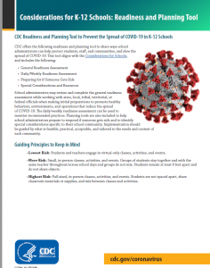 CDC Readiness and Planning Tool to Prevent the Spread of COVID-19 in K-12 Schools